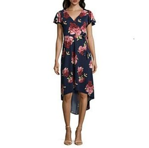 By & By Womens High Low Floral Wrap Front Dress XS